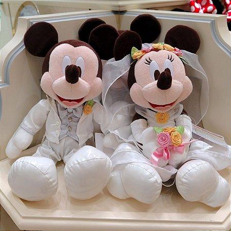 Mickey e Minnie Pelucia Noivos Casamento Disneyland Tokyo