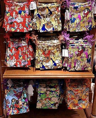 Saco de tecido Mickey, Minnie, Tico e Teco, Ariel, Pooh, Rapunzel, Aladdin, Bela e Fera, Toy Story