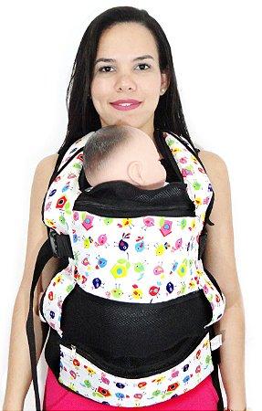 Daju Chila - Mochila de Bebê Ergonômica - Passarinhos Preta