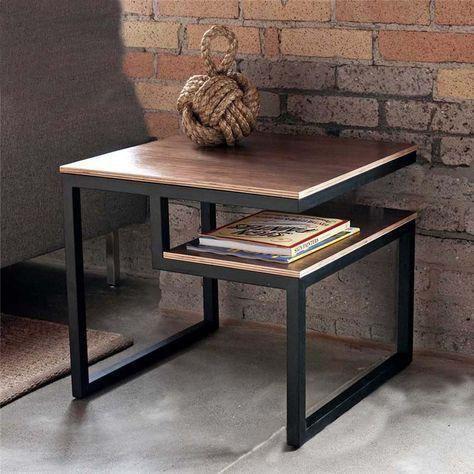 Mesa de metal com madeira MDF - Escolha a cor do MDF