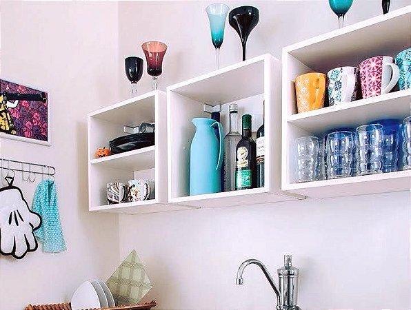 Nichos Para Sua Cozinha - Em Madeira - Você Escolhe Sua Cor! - Conjunto de 3 Nichos