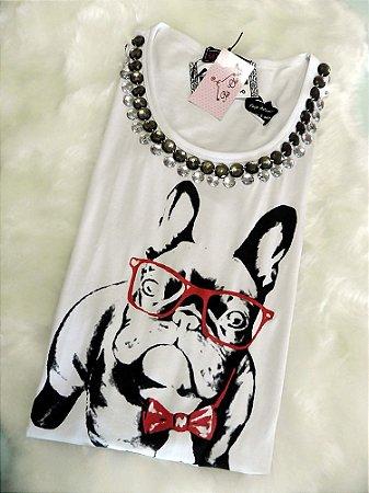 T-shirt Bulldog com Óculos | Bordada [ Branca ] Manga Longa