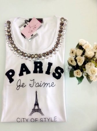 T-shirt Paris | Branca [ Bordada ] Manga Longa