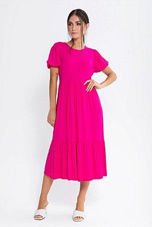 Vestido Midi Viscolycra Manga Curta   Pink e Preto