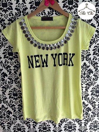 T-shirt New York [ Amarela ] Bordada {{Manga Curta}}