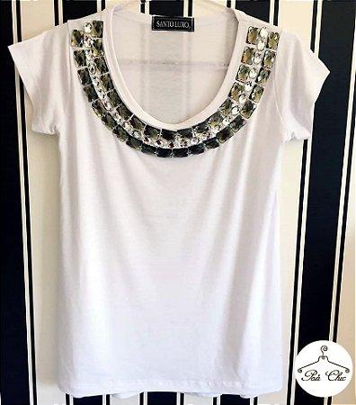 T-shirt Branca Bordada || Manga Curta