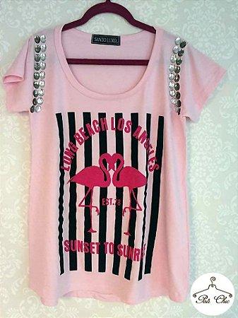 T-shirt Flamingo {{ Rosa }} Bordada    Manga Curta