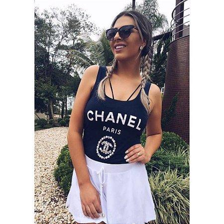 Regata Chanel Bordada [ Azul Escuro ] Corte a fio
