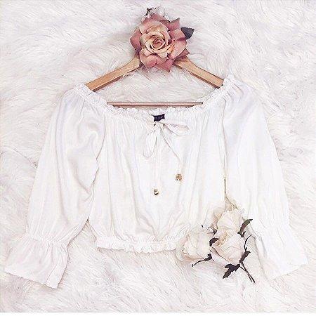 Cropped Ciganinha com Laço { Off White } Petit Rosè