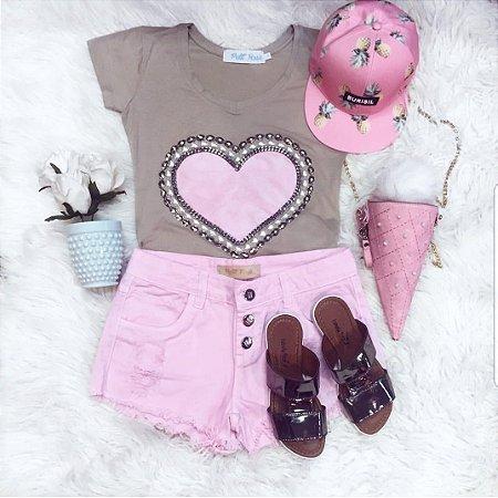 T-shirt Coração Rosa Bordado || Petit Rosè