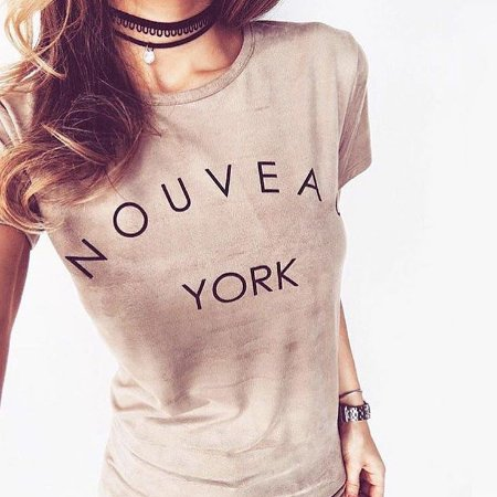 T-shirt Suede Nouveau York | Camel {{ Clarinha }} Petit Rosè