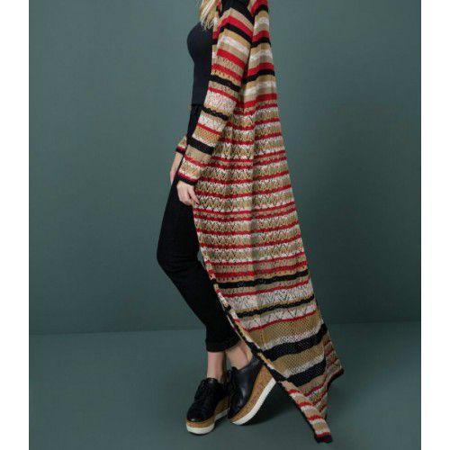 Sobretudo de Tricot com Listras | Stripes - Na cor Azul