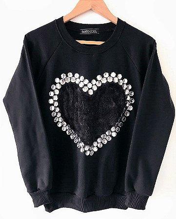 Blusa Moletom Feminino Preto Bordado Estampa Coração