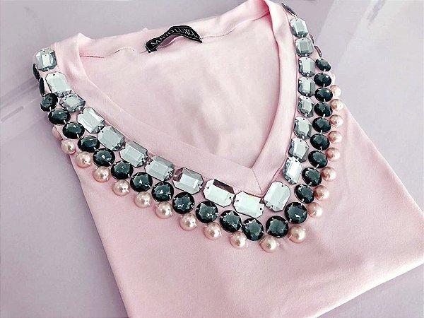 T-shirt Rosa || PINK [ Bordada ] Decote V