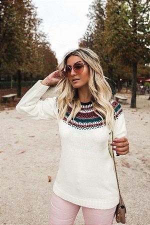 Blusa de Tricot | Gola Color - Cores: Off White e Preta