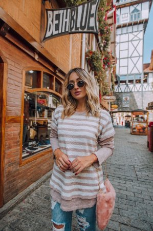 Blusa de Tricot | Listras [ Stripes ] - Cores: Preto e Rosa