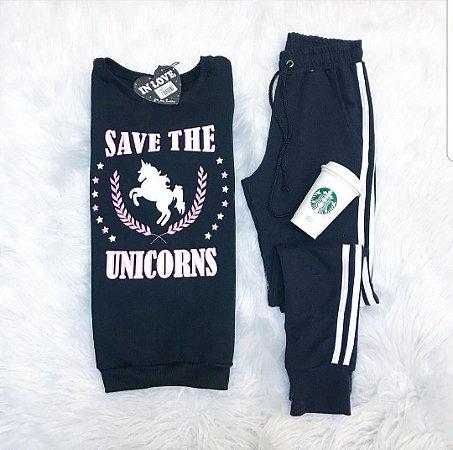 Moletom Save The Unicorns [ Preto ] Blusa