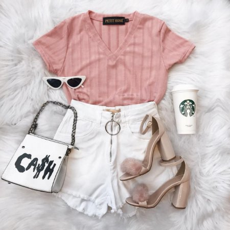 T-shirt Basic | Cores: Branca, Verde e Rosa - Petit Rosè