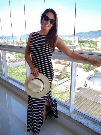Vestido Longo Listras Largas - Preto & Branco | Fendas Laterais