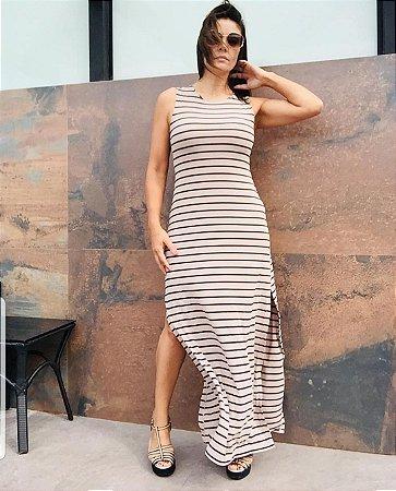 Vestido Longo Listrado [ Listras Largas ] Bege + Preto | Fendas Laterais