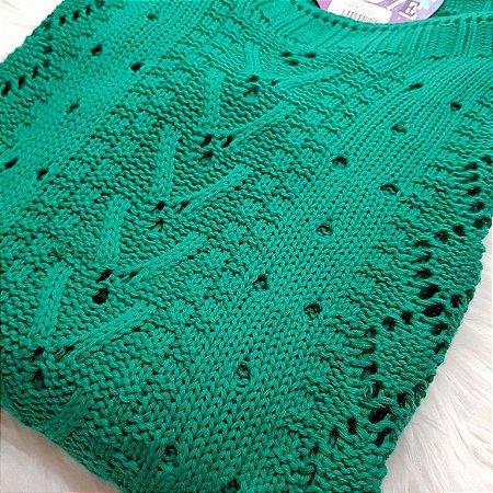 Blusa de Tricot Verde | Decote Canoa