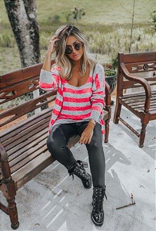 Conjunto de Tricot: Casaco e Regata Listrada | Pink Neon e Cinza