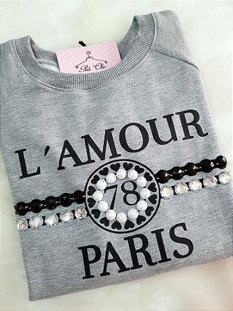 Moletom L' Amour Paris | Cinza - Bordado à Mão