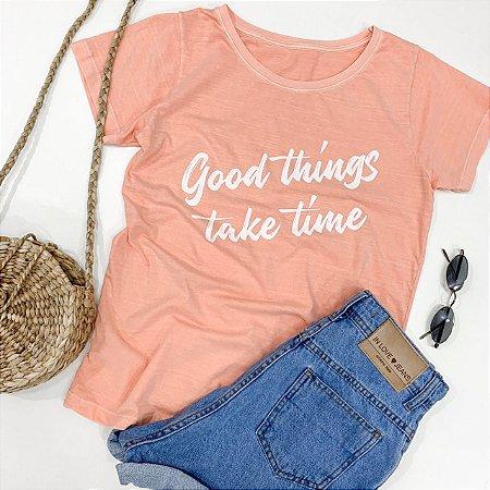 T-shirt Good Things Take Time - Cor: Salmão - In Love