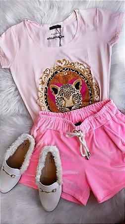 T-shirt I can be | Onça - Cor: Rosa - Petit Rosè