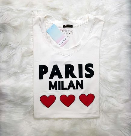 T-shirt Paris Milan - Off White   Petit Rosè