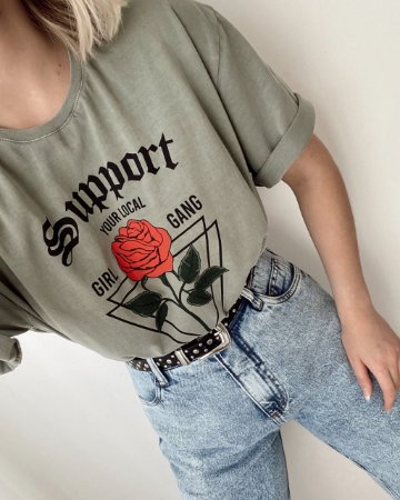 T-shirt Over Support Verde Militar | In Love