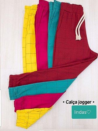 Calça Jogger Geométrica | Cores: Pink, Turquesa e Amarela