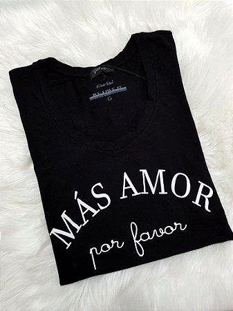 T-shirt Más Amor Por Favor   Cor Preta   Petit Rosè