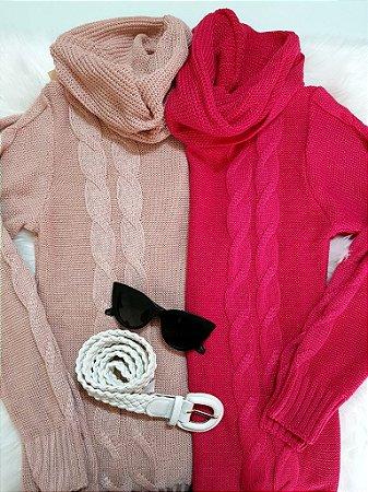 Blusa de Tricot Tranças com Gola Alta | Cores: Rosa Claro e Pink