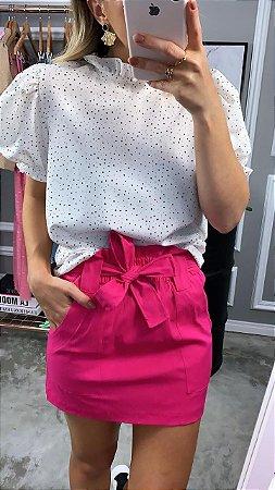 Blusa Louise em Crepe de Seda Rosa e Branca | Manga Princesa - Petit Rosè