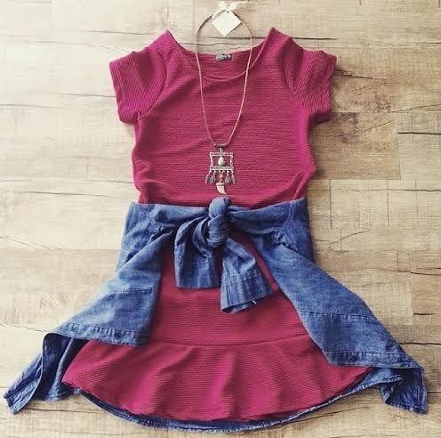 Vestido Jacquard Vermelho Marsala
