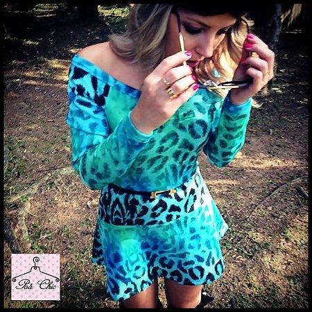 Vestido Ciganinha Animal Print [Oncinha] Azul | Petit Rosè - Neoprene
