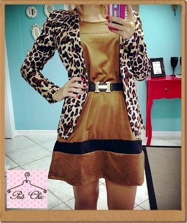 Vestido Chamois Marrom | Petit Rosè [ Manga comprida ]