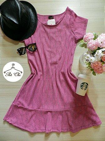 Vestido Jacquard Rosa