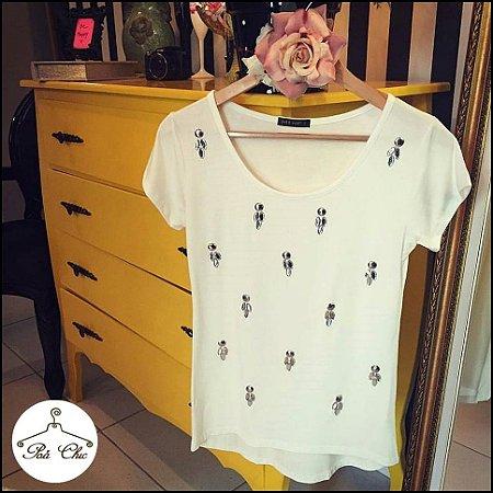 T-shirt Bordada Flores [ Off White ]