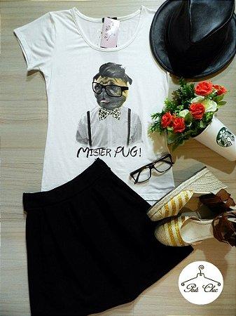 T-shirt Mister Pug! [ Off White ] Petit Rosè | Óculos, Gravata e Suspensório