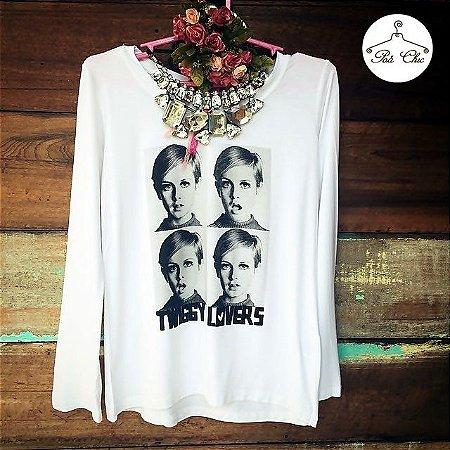 T-shirt Twiggy Lovers (Branca) Petit Rosè