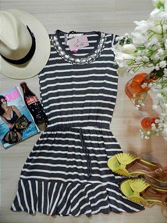 Vestido Stripes || Listras [ Bordado ] - Cinza + Branco