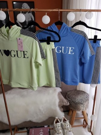 Conjunto Moletinho Vogue Azul e Verde - Pied de Poule