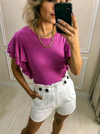 Blusa com Babados Duplos no Ombro e Lateral | Pink, Off White e Violeta