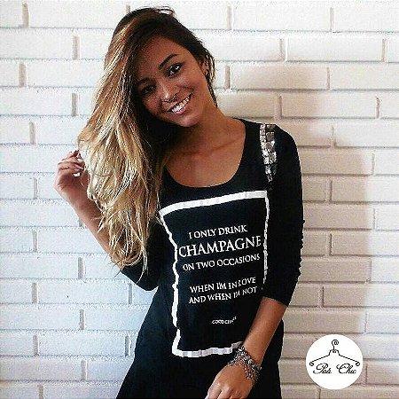 T-shirt I Only Drink Champagne || Bordada [ Preta ] Manga Longa