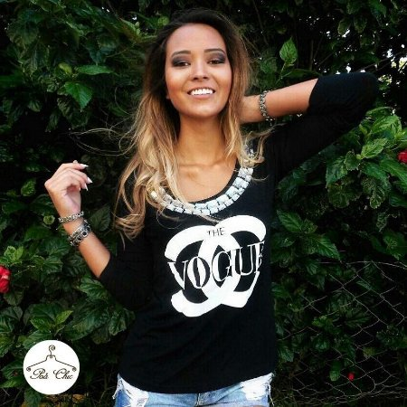 T-shirt The Vogue Bordada [ Preta ] Manga Longa