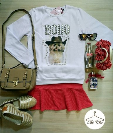 Moletom The Boho Style { Dog } Bordado || Branco