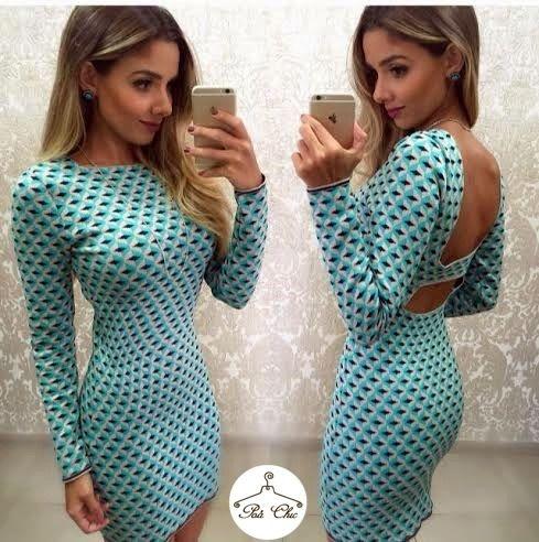 Vestido de Tricot Paris || Cores: Azul Turquesa e Coral { Jacquard }