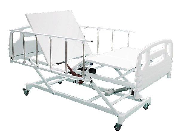 Cama Hospitalar Motorizada 3 Movimentos com Elevação do Leito Semi Luxo e Grades Empilháveis